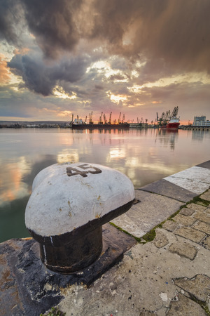 Seascape of the Seaport of Varna, With bollards and chains in foreground