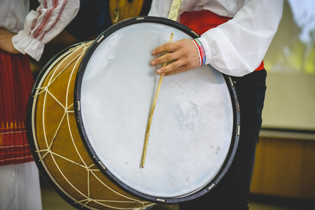 Large double headed drum, bulgarian traditional instrument