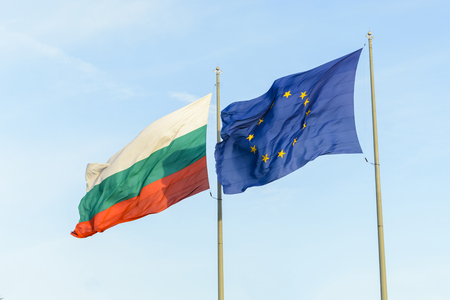 Bulgarian flag and european flag together floating on the wind