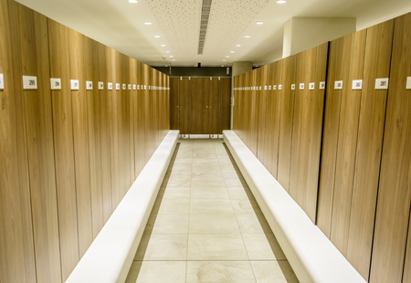 Modern Storage lockers in a swimming pool with bench , and led lighting 版權商用圖片