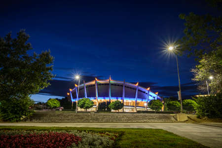 palace of the culture and sport in Varna by night. Stock Photo