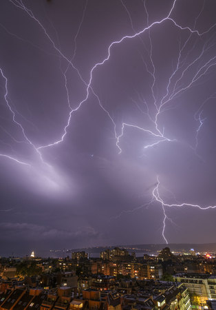 Storm over Varna, Bulgaria, with lightnings and flashes