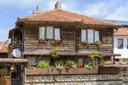 Typical wooden house in nessebar, Bulgaria. wood, old, traditional architecture.