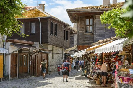 NESSEBAR, BULGARIA , MAI 24, 2018: Tourist visiting the old town of Nessebar in Bulgaria.
