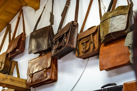 leather bags in a shop,pattern of colorful bags Stock Photo