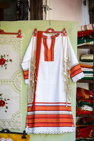 Traditional bulgarian dress called Nosia in a shop Stock Photo