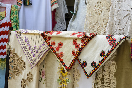 traditional bulgarian tablecloth in a shop. colorful tablecloth Stock Photo