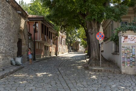 PLOVDIV,BULGARIA, AUGUST 20, 2018: Tourist visiting the old town street in the city of Plovdiv,Bulgaria.