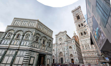 Firenze, Italy, April 26, 2019: Tourist waiting for the visit of the saint marie of the flower basilica in Firenze, Italy