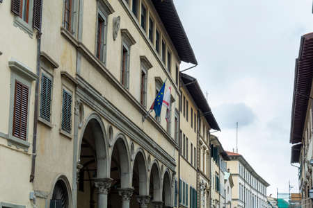Firenze, Italy, April 26, 2019: Tourist walking in a commercial street in Firenze, Italy. Editöryel