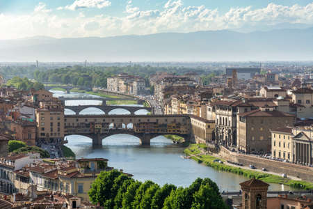the Old bridge in Florence Named Ponte Vecchio, passing the river Arno.