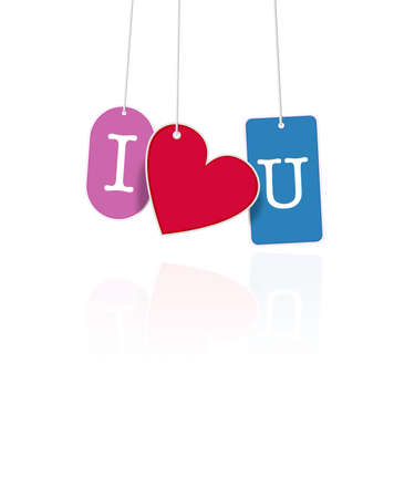 special occasions: I Love You hanging tags on white isolated graphics, perfect for Valentines Day or special occasions