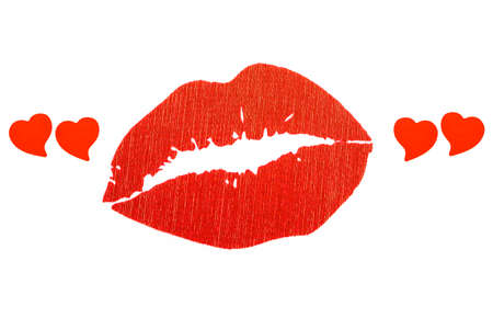 mouth kiss mouth: Red lips in red quotes the shape of heart Stock Photo
