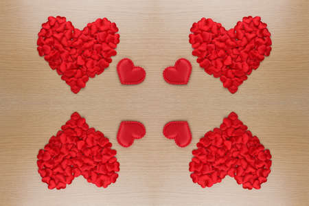 mirrored: mirrored red hearts Stock Photo