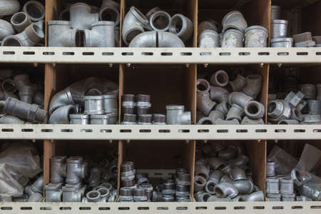 metal parts: Various type of galvanized water pipe connectors