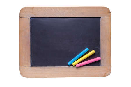 white chalks: Small wooden framed blackboard with color chalks on white background with clipping path