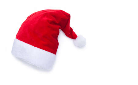 santa clause hat: Red Santa Clause hat on white background with drop shadow and copy space for text Stock Photo