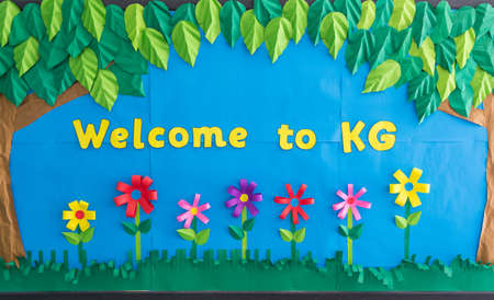 colorful Welcome To Kindergarten paper artwork sign, for school and educational institution Stock Photo