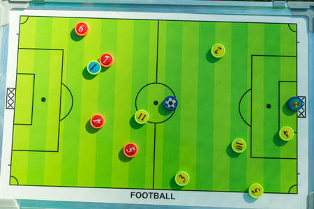 Football or soccer strategy planning board with magnet numbered buttons, good for football or sport theme