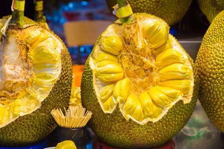 Big cut up jackfruit showing inside part, at local market in China Stock Photo