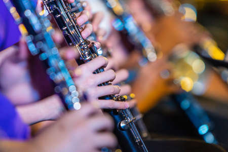 Female musician hands playing on clarinet, with blurred foreground and background Stock Photo