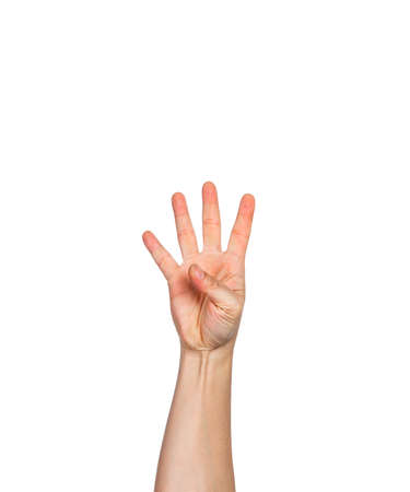 Male hand holding up 4 fingers, white background