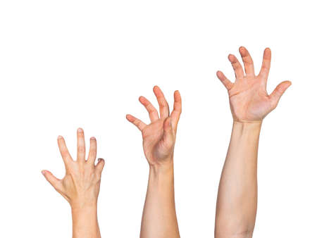 Three male hands fully stretched reaching out to grab something, white background, room for copy space