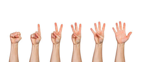 Five male hands raise up, in fist, one finger pointing up, two fingers pointing up, three fingers pointing up, four fingers pointing ups, and all five fingers pointing up, white background with room for copy space