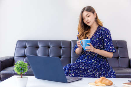 Young beautiful woman in blue dress working on her computer in her home living room Banco de Imagens