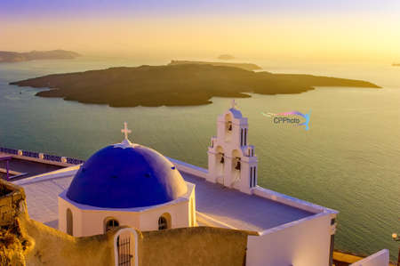 View across the famous landmark of Santorini