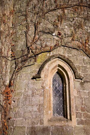 Iglesia muro cubierto de hiedra trepadora una en oto�o