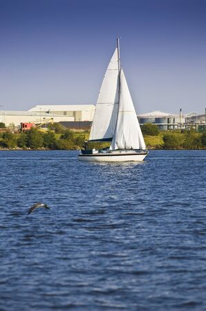 Sailing yacht in Cardiff Bay