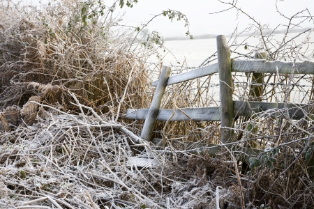 frost covered fence on the Mendip hills in Somerset