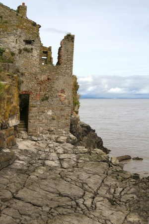 county somerset: An old delapidated building on Steepholm island which is situated in the Bristopl channel between South Wales and the county of Somerset