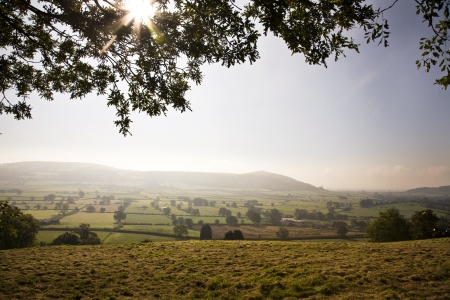 Misty early morning view across to Crook Peak from Banwell Hill, Somerset Stock Photo - 16861315