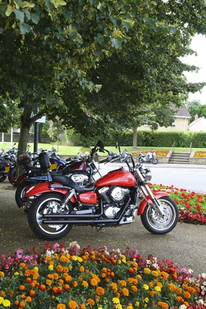 A line up of motorcycles parked up undernath a tree in a town Stock Photo