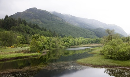 View of Scottish highlands near Glencoe after a rain storm