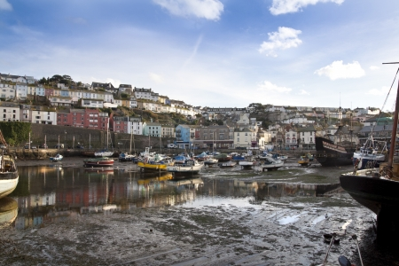 Brixham harbour at low tide