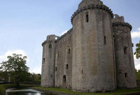 moat wall: Nunney castle, Somerset UK Editorial