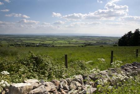 quantock hills: View looking towards the Quantock hills in Somerset Stock Photo