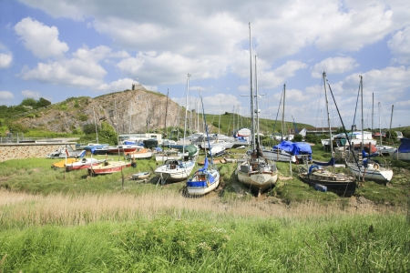 Boats along the river Axe Stock Photo - 20915273