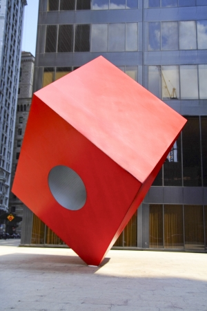 Noguchi s Red Cube sculpture in lower Manhattan  New York  Editorial