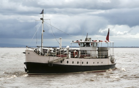 steep holm: Ferry boat in the Bristol channel, the boat takes passengers for pleasure cruises around the Weston Super Mare bay and also ferries passengers to and from Steep Holm island Stock Photo