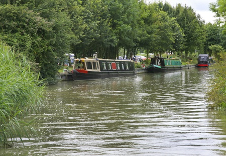 Narrowboats moored along the Grand Union canal near a marina