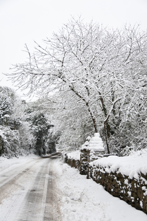 Snow covered country lane in Somerset, UK