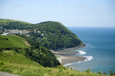 lynmouth: View of Lynmouth from countisbury hill on Exmoor national park