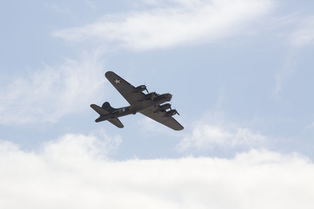 weston super mare: WESTON SUPER MARE, UK - JUNE 21: Boeing B-17G Flying Fortress Sally B flying at the combined Air ShowArmed Forces event June 21, 2015 at Weston Super Mare, Somerset, England.