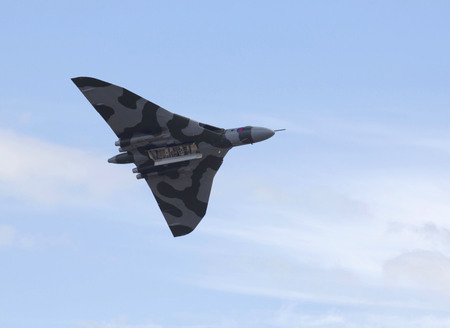 weston super mare: The Vulcan bomber XH558 flying over Weston Super Mare during one of its last airshow appearances of 2015 before being retired at the end of the year