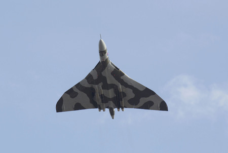 weston super mare: WESTON SUPER MARE, UK - JUNE 21: Avro Vulcan Bomber aircraft XH558 participates in the combined Air ShowArmed Forces event June 21, 2015 at Weston Super Mare, Somerset, England.This is its last year of flying before being retired at the end of 2015