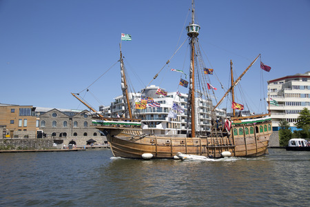 BRISTOL, ENGLAND - JULY 19th 2015: The replica sail ship The Matthew ferries passengers around Bristol harbour during the annual festival on July 19th 2015 at Bristol, UK